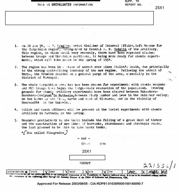 У 1954 році американські розвідники доповідали про випробування ядерної зброї на Закарпатті