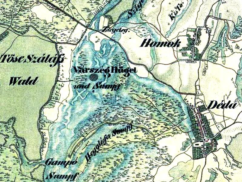 Замок Товар на старій мапі