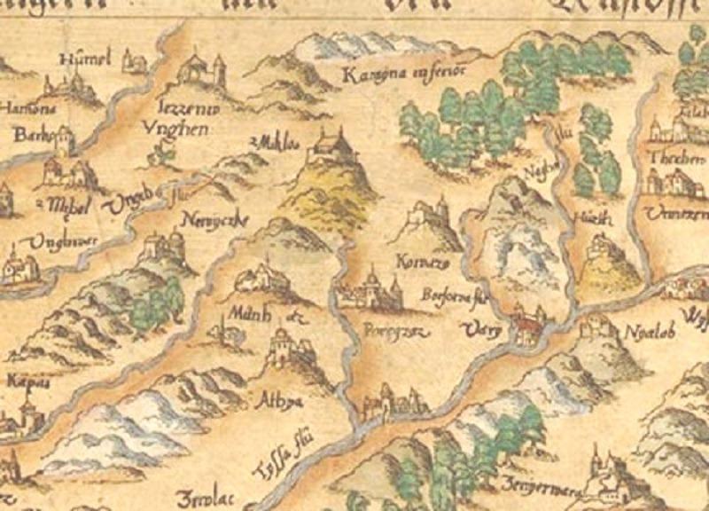 Карта замків Угорщини XVI ст., де чітко видно фортеці Нялаб, Хустську тощо